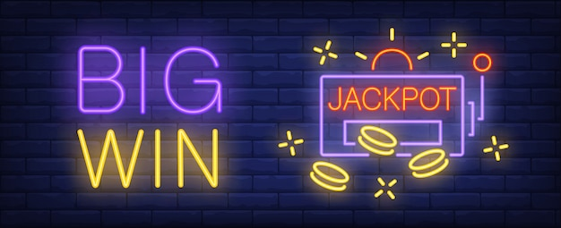 Big win neon sign. jackpot inscription and slot machine on brick wall background.