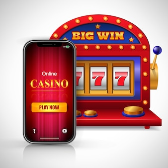 Big win online casino play now lettering on smartphone screen and slot machine.