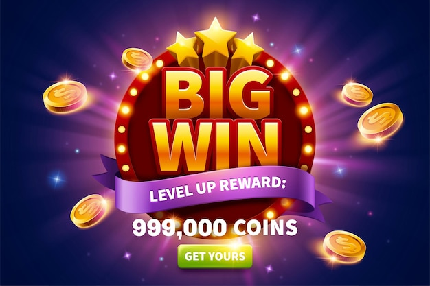 Big win pop up ads with golden coins flying out from round marquee light board for publicity