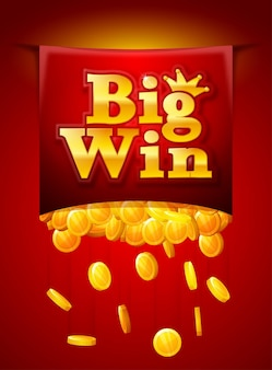 落下する黄金のコインで大勝利のポスター。ビッグウィンバナー。トランプ、スロット、ルーレット。