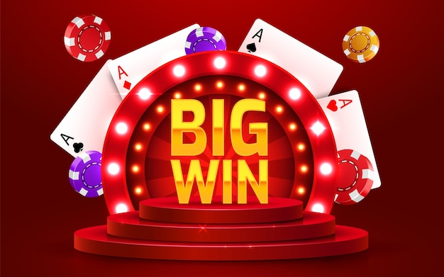 Big win sign with gold realistic d coins background jackpot concept