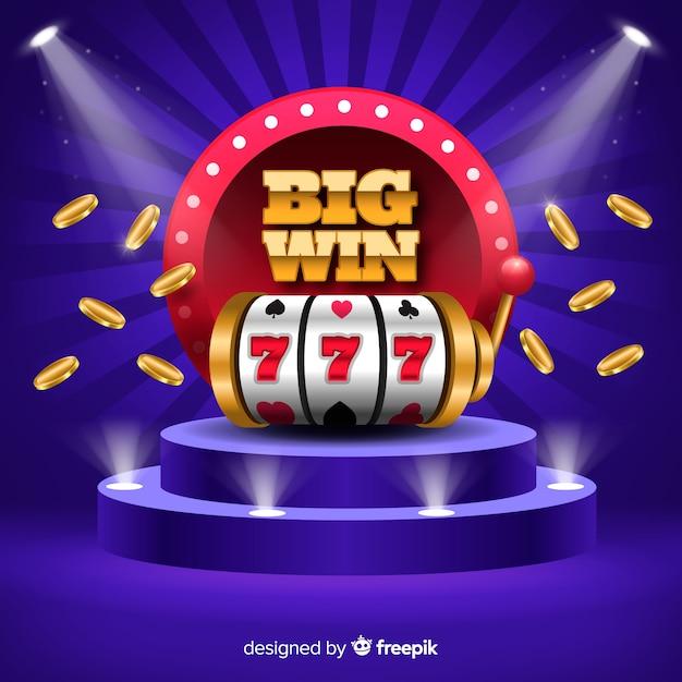 Big win slot concept in realistic style