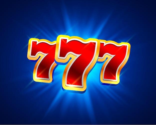 青の背景に大きな勝利スロット777バナーカジノ。ベクトルイラスト