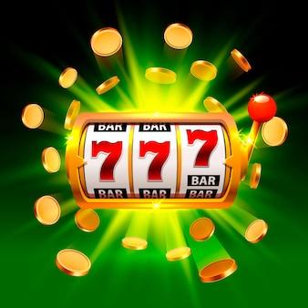 緑の背景に大きな勝利スロット777バナーカジノ。ベクトルイラスト