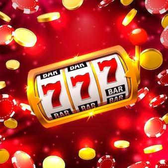 赤の背景に大きな勝利スロット777バナーカジノ。ベクトルイラスト