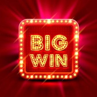 Big win slots banner casino on the red background. vector illustration