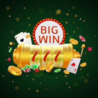 Big win text with roulette wheel.