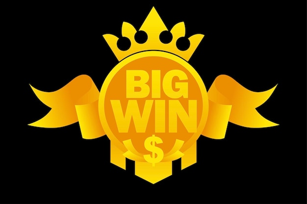 Big win with gold ribbon, dollar sign,crown for ui games. vector illustration banner with symbol victory in slot machine award ribbon.