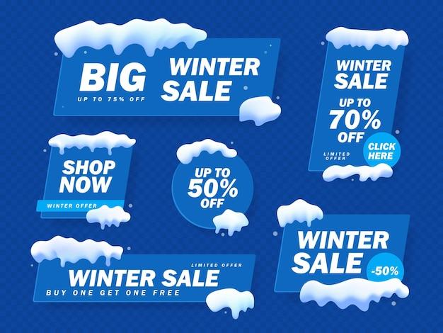 ビッグウィンターセールバナーセット。雪と雪片と冬の背景に雪のキャップと青いバナー。冬のオファー、大セール、今すぐ購入。ベクトルイラスト