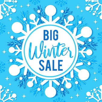 Big winter sale promo on snowflake