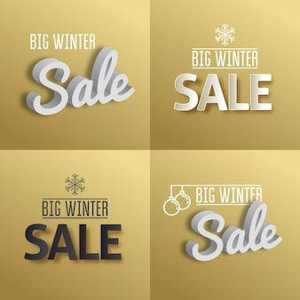 Big winter sale. set the text on gold background