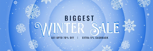 Big winter sale snowfall banner design