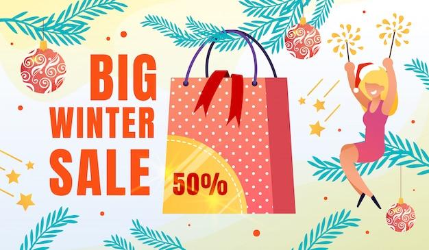 Big winter seasonal sale flat ad banner
