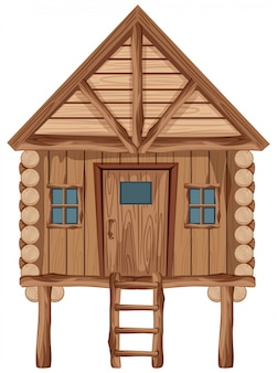 Большой деревянный коттедж с дверью и окнами
