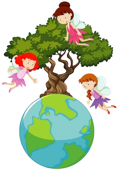 Big world and three fairies flying around the big tree