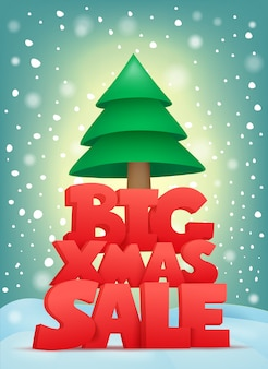 Big xmas sale title text with christmas tree. vector card