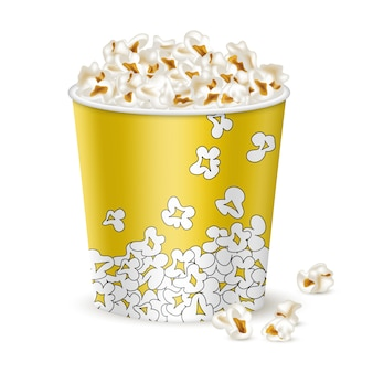 Big yellow bucket with popcorn.