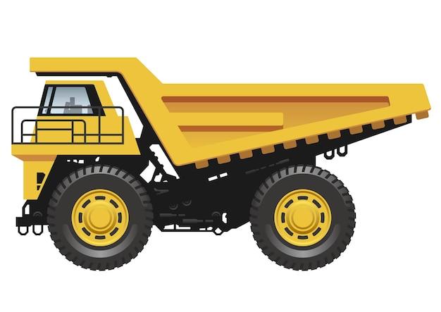 白い背景のベクトル図に分離された大きな黄色のダンプトラック