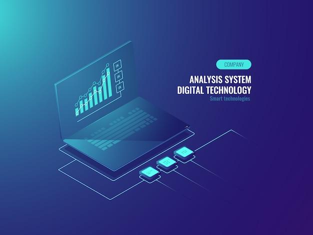 Bigdataのレポート、ラップトップの画面上のデータ統計、ビジネスとデータのグラフ