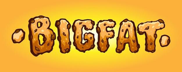 Bigfat typeface biscuit手描きのベクトルイラストあなたの仕事のロゴ、マスコット商品のtシャツ、ステッカーとラベルのデザイン、ポスター、グリーティングカード広告事業会社またはブランド。