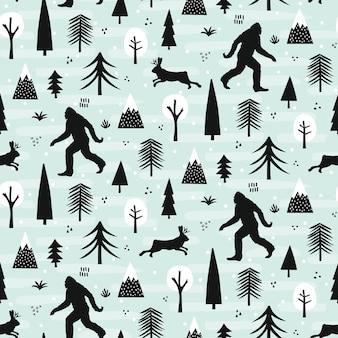 森のパターンのビッグフットとジャッカロープ