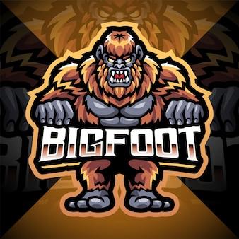 Bigfoot esport mascot logo design Premium Vector