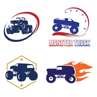 Bigfoot monster truck logo symbol collection