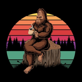 Bigfoot relaxing coffee sunset retro