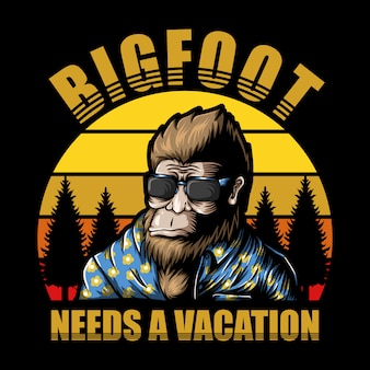 Bigfoot vacation sunset illustration