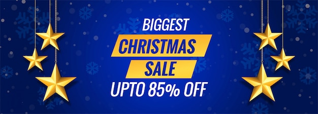 Biggest christmas sale on blue banner template