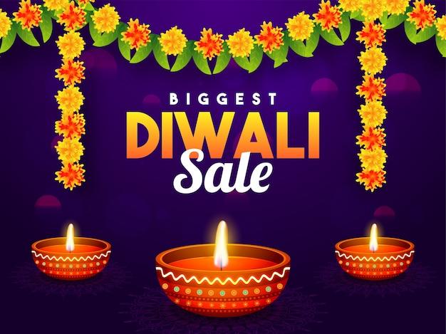 Biggest diwali sale banner decorated with flower garland.