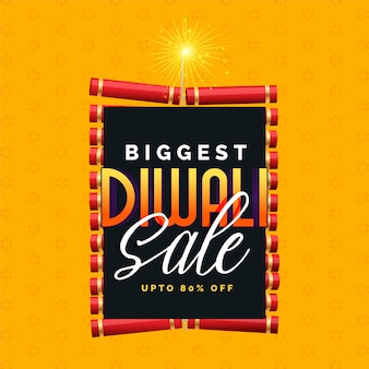 Biggest diwali sale poster design with cracker