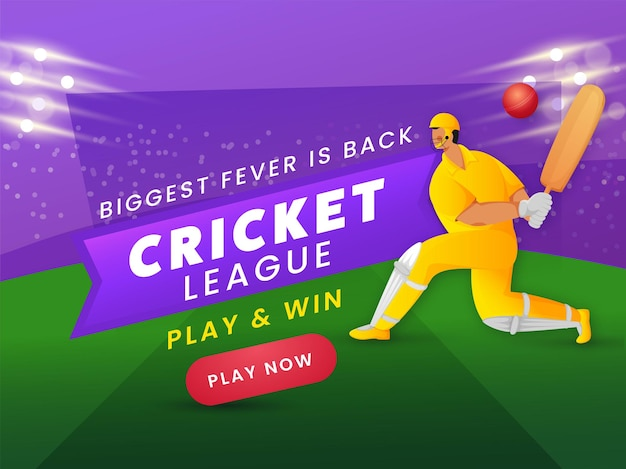 Biggest fever is back cricket league based poster design with batsman player in playing pose