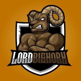 Bighorn強い羊eスポーツロゴマスコットイラスト
