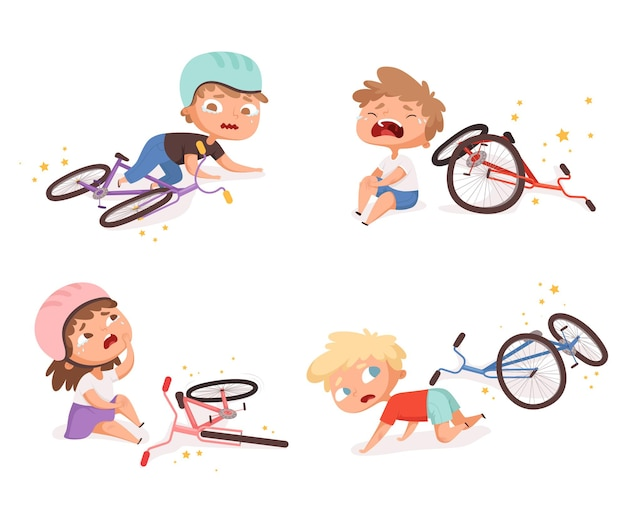 Bike accident. kids fallen damaged bicycle broken transport children accidents helping person  characters.