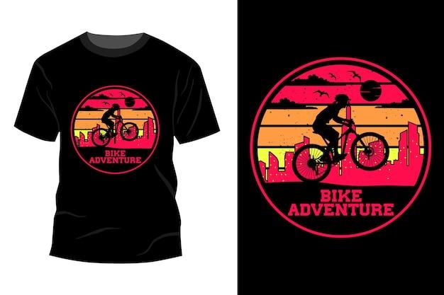 자전거 모험 티셔츠 이랑 디자인 빈티지 복고풍