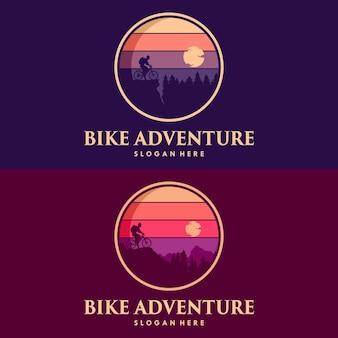 Велосипедное приключение с дизайном горного логотипа