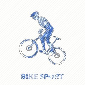 バイクとバイカーの男のイラスト。クリエイティブでスポーツスタイルのイメージ
