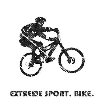 Велосипед и байкеры человек иллюстрации. креативный и спортивный стиль имиджа