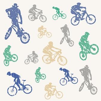 자전거와 바이커 남자 패턴 그림입니다. 창의적이고 스포츠적인 스타일의 이미지