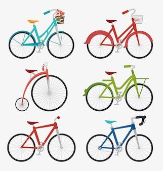 自転車と自転車のグラフィックデザイン