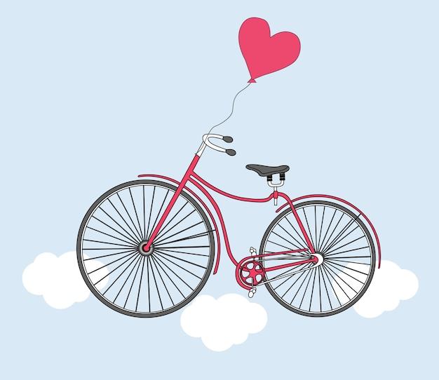 Велосипед воздушный шар и сердце день святого валентина день рождения