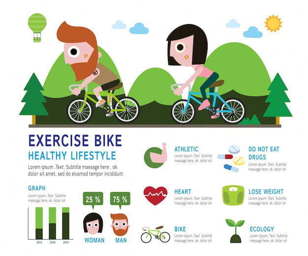 Bike bicycle rider with beard infographic concept