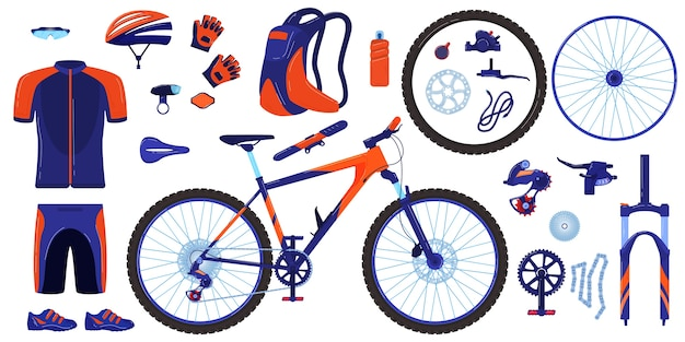 Bike bicycle vector illustration set, cartoon flat cycle parts infographic elements collection of cyclist gear, sportswear