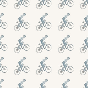 Bike and bikers man pattern illustration. creative and sport style image