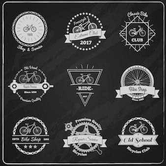 Bike chalkboard emblems set