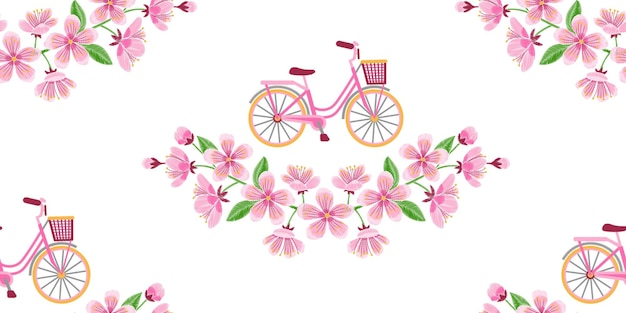 Bike and cherry blossom embroidery seamless pattern