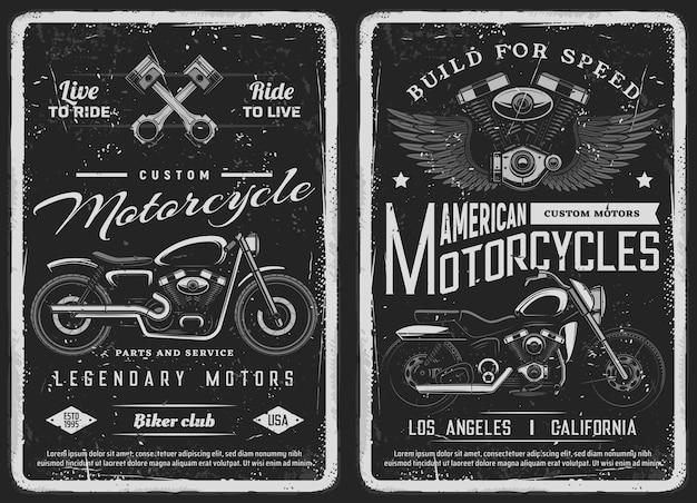 Bike and custom motorcycle vintage posters. american motorcycles mechanic service, repair station or biker club workshop grunge banners. vector classic chopper bikes, engine blocks and pistons
