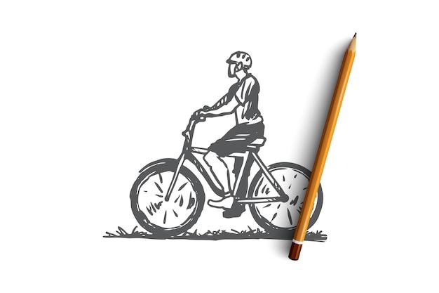 자전거, 자전거 타는 사람, 스포츠, 인종, 남자 개념. 자전거 개념 스케치에 그려진 된 남자를 손. 삽화.