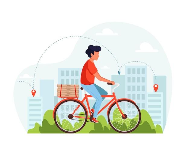 自転車配達サービスのコンセプト。ピザの箱で自転車に乗る宅配便。フラットスタイルのイラスト。